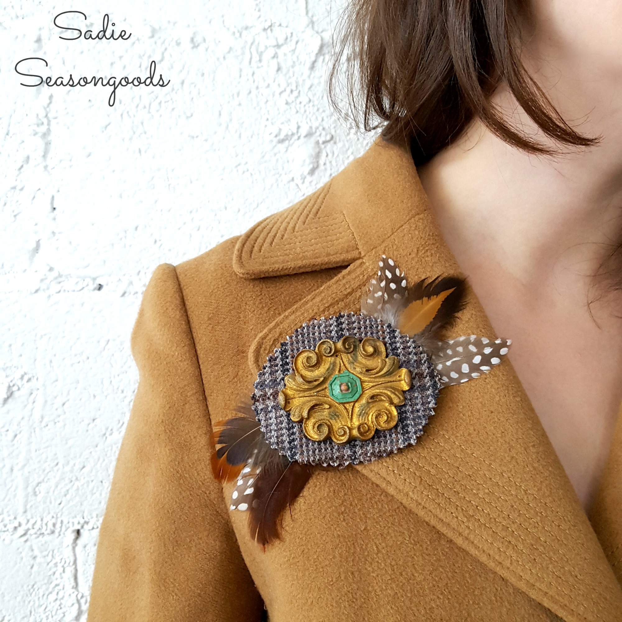 Salvage Couture: Reclaimed Furniture Appliqué Brooches, By Sadie Seasongoods, featured on Funky Junk Interiors