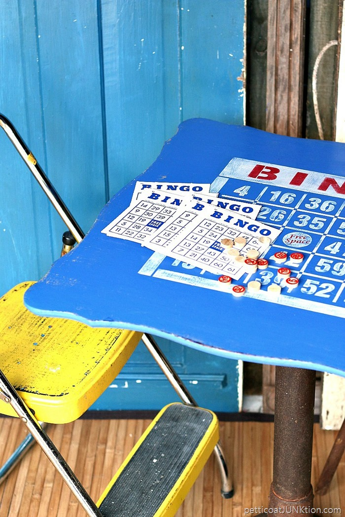 Bingo board table top with Old Sign Stencils, by Petticoat Junktion, featured on Funky Junk Interiors