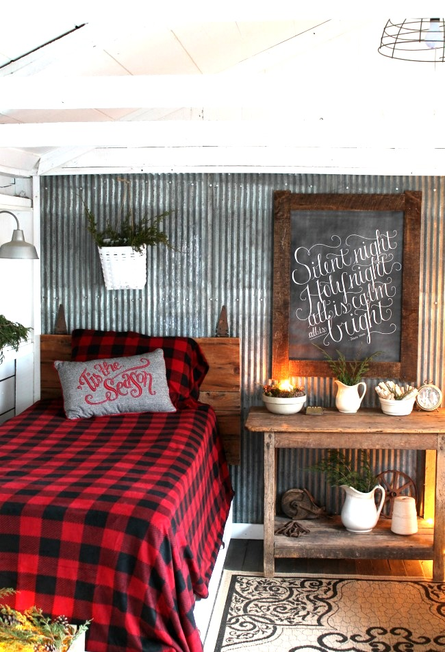 Woodland Christmas farmhouse bedroom decor, by Knick of Time, featured on Funky Junk Interiors