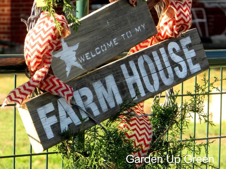 Reclaimed wood FARMHOUSE wreath, by Garden Up Green, featured on Funky Junk Interiors