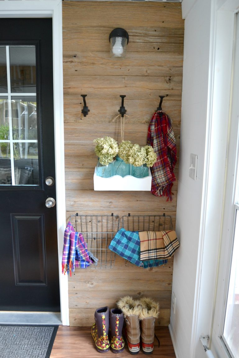 Free reclaimed wood porch wall, by My Creative Days, featured on Funky Junk Interiors