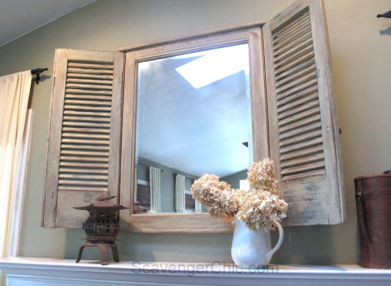 Transformed shutter mirror, by Scavenger Chic, featured on Funky Junk Interiors