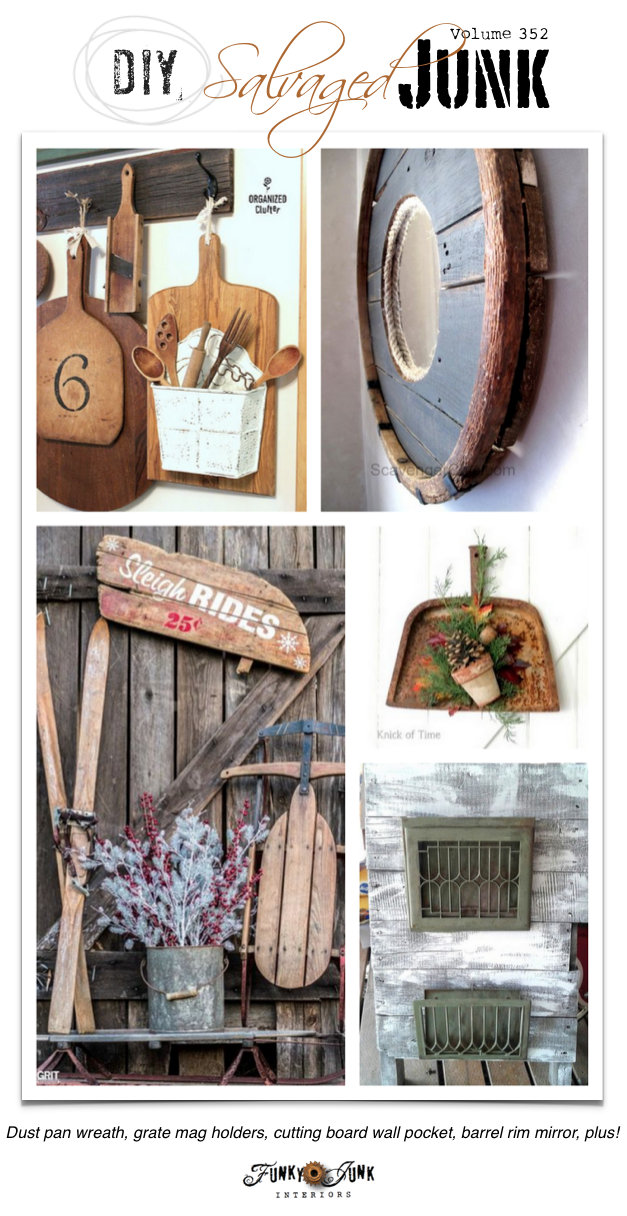 DIY Salvaged Junk Projects 352 - repurposed projects with a junk link party | funkyjunkinteriors.net