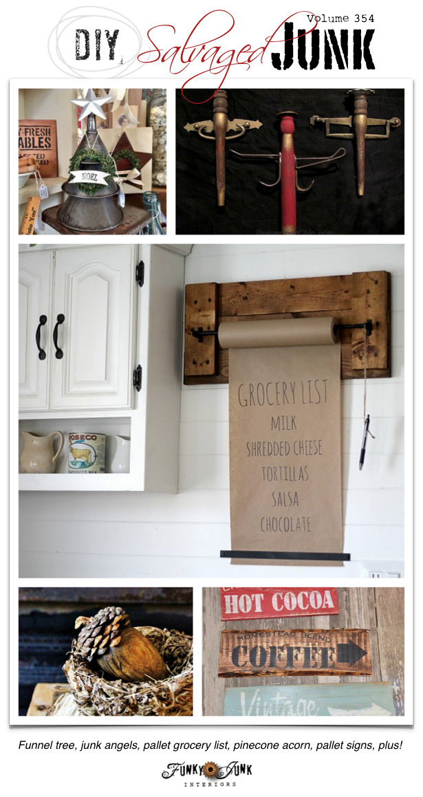 DIY Salvaged Junk Projects 354 - features and a themed link party on funkyjunkinteriors.net