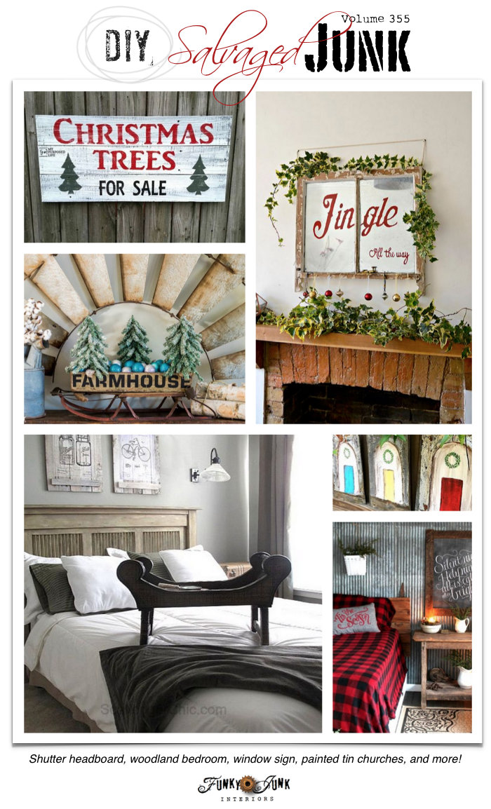 DIY Salvaged Junk Projects 355 - features and a themed link party on funkyjunkinteriors.net