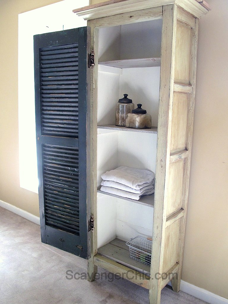 DIY Vintage shutters cabinet, by Scavenger Chic, featured on Funky Junk Interiors