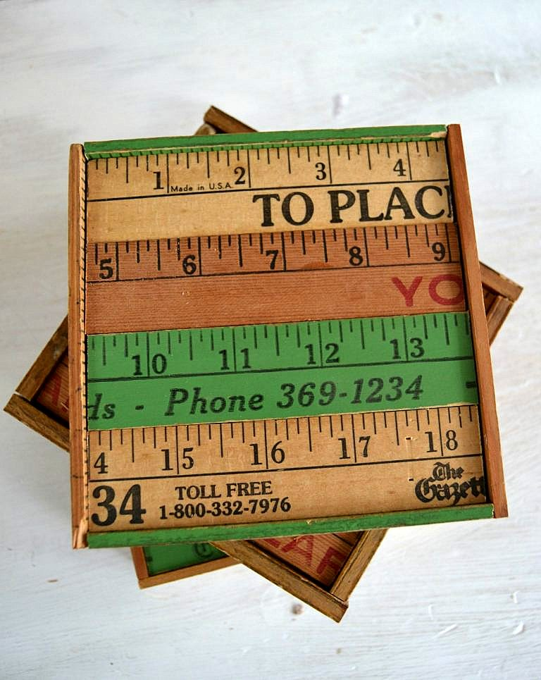 Christmas Gift: DIY Yardstick Coasters, by My Creative Days, featured on Funky Junk Interiors