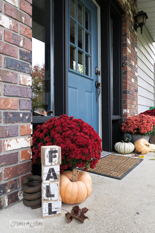 Fall blocks, pumpkins and red mums front door decorating | funkyjunkinteriors.net