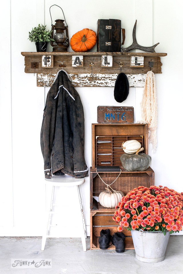 Interchangeable fall coat hook shelf made with Funky Junk's Old Sign Stencils | funkyjunkinteriors.net