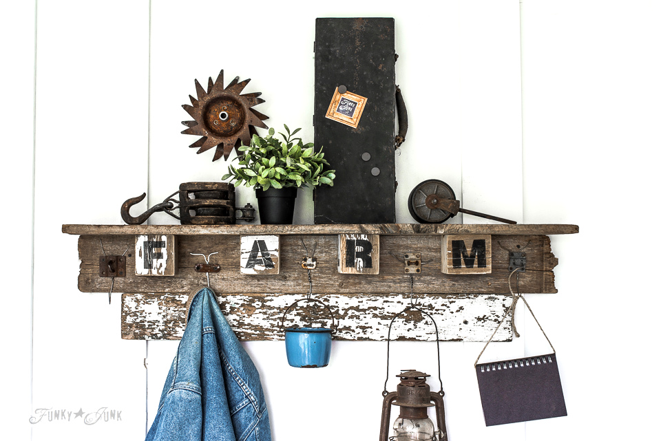 Interchangeable FALL FARM reclaimed woodcoat hook shelf for all seasons, made with wire hanger hooks and Funky Junk's Old Sign Stencils | funkyjunkinteriors.net