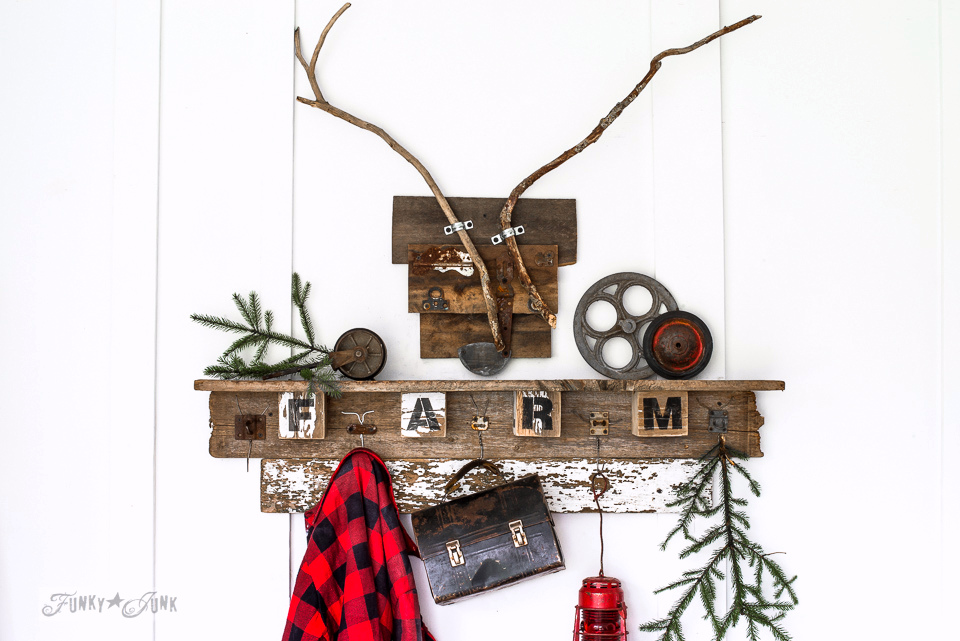 Christmas themed interchangeable FALL FARM reclaimed woodcoat hook shelf for all seasons, made with wire hanger hooks and Funky Junk's Old Sign Stencils | funkyjunkinteriors.net
