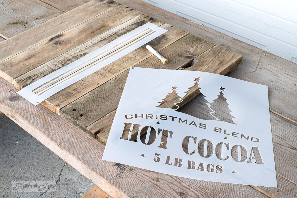 Christmas Blend Hot Cocoa 5 lb bags and grain sack line stencils, by Funky Junk's Old Sign Stencils | funkyjunkinteriors.net