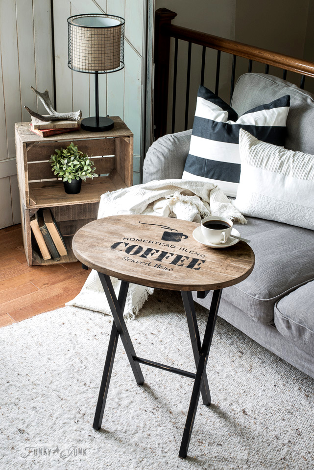 Learn how this plain pine TV tray was revamped into a Homestead Blend Coffee-themed stained and stenciled makeover! Featuring Funky Junk's Old Sign Stencils and Fusion Mineral Paint