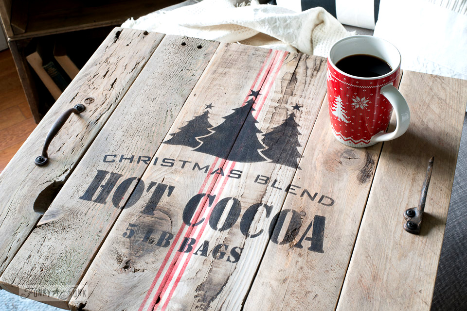 Christmas themed hot cocoa tray, from pallet wood and Funky Junk's Old Sign Stencils | funkyjunkinteriors.net