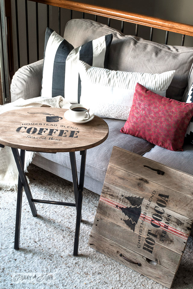 Update an old TV tray with a coffee stencil, stain, and pallet wood creating a slip on Christmas tray with Funky Junk's Old Sign Stencils / funkyjunkinteriors.net