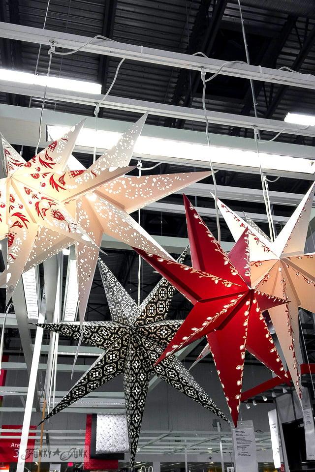 Illuminated red black and white stars, at Ikea | funkyjunkinteriors.net