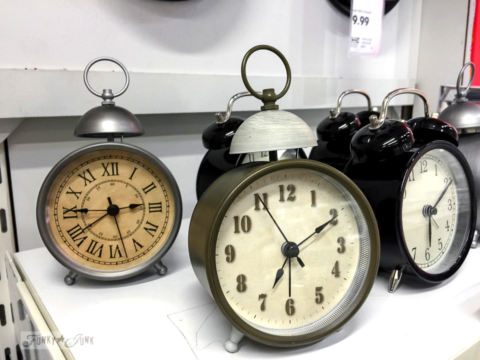 Old styled alarm clocks at Ikea | funkyjunkinteriors.net