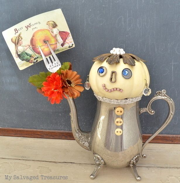 Junky pumpkin people gal with silverware hand, by My Salvaged Treasures, featured on Funky Junk Interiors