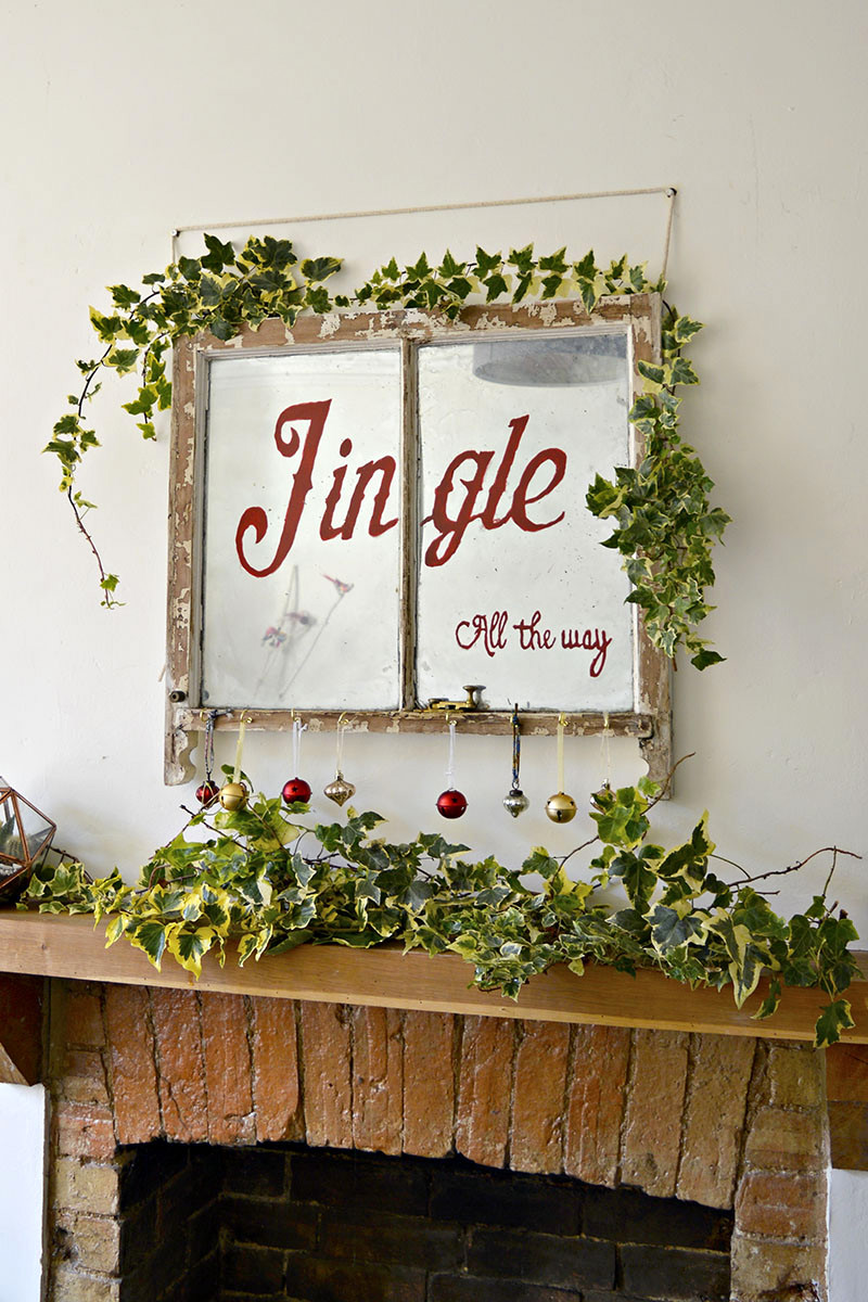 Repurposed Christmas mirror window sign, by Pillar Box Blue, featured on Funky Junk Interiors