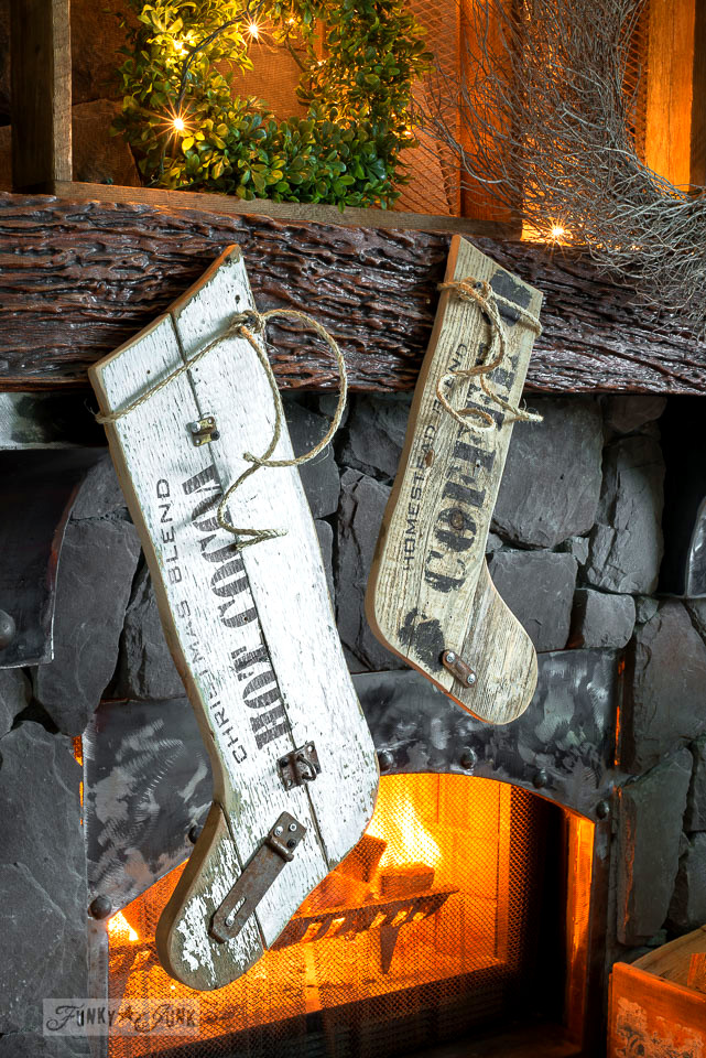 Reclaimed wood Christmas stocking decor with Funky Junk's Old Sign Stencils | funkyjunkinteriors.net