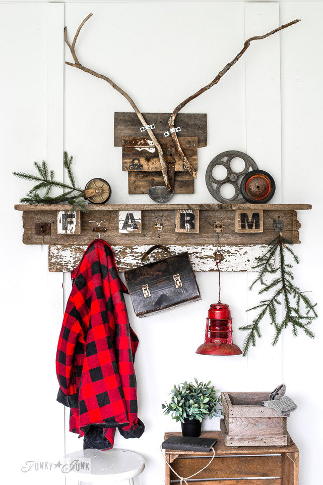 Christmas themed interchangeable FALL FARM reclaimed woodcoat hook shelf for all seasons, and wood deear head, with Funky Junk's Old Sign Stencils | funkyjunkinteriors.net