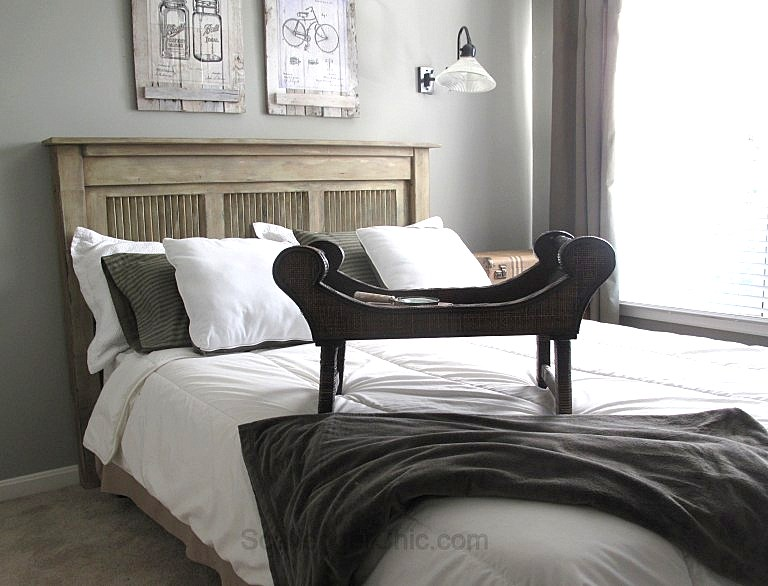 Upcycled shutter headboard, by Scavenger Chic, featured on Funky Junk Interiors