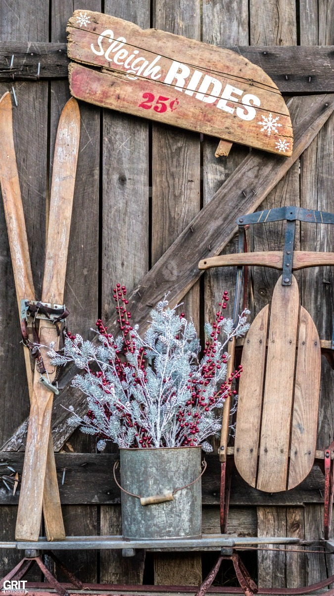 DIY reclaimed wood Sleigh Rides Christmas and winter sign, by Grit Antiques, featured on Funky Junk Interiors