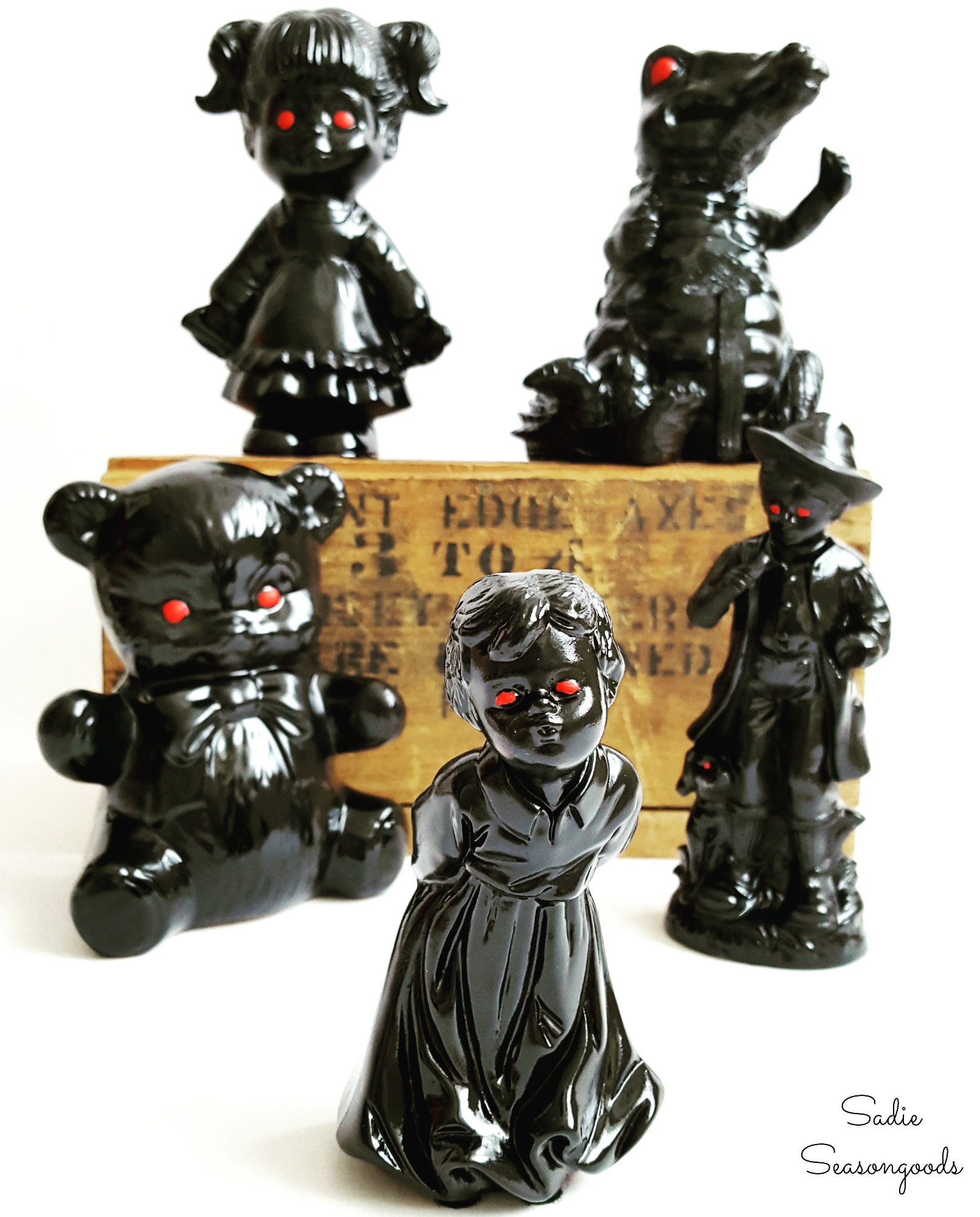 Haunted thrift store figurines, by Sadie Seasongoods, featured on Funky Junk Interiors