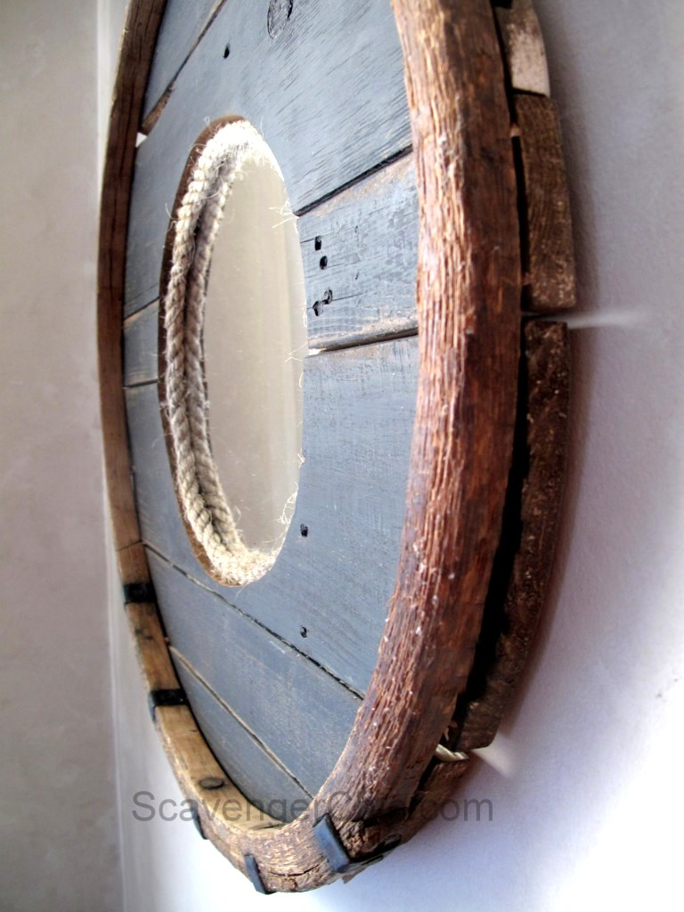 Repurposed barrel hoop mirror, by Scavenger Chic, featured on Funky Junk Interiors