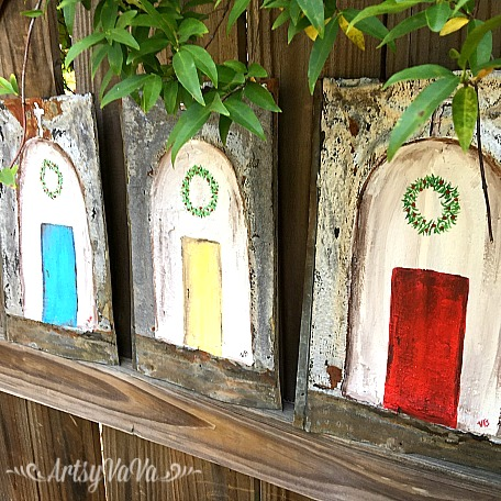 Hand painted tin Christmas church decor, by Artsy VaVa, featured on Funky Junk Interiors
