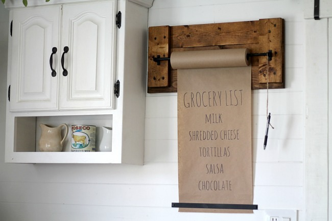 Reclaimed wood rolling grocery list, by Knick of Time, featured on Funky Junk Interiors