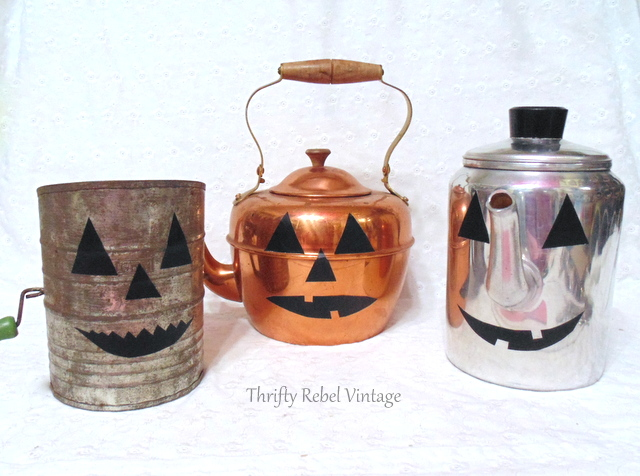 Easy, instant jack o lanterns, by Thrifty Rebel Vintage, featured on Funky Junk Interiors