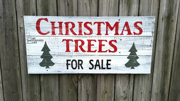 Christmas Trees For Sale Fixer Upper sign, by My Repurposed Life, featured on Funky Junk Interiors