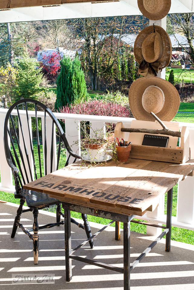 Outdoor patio office, with rustic mini farmtable desk and branch handled reclaimed wood toolbox file folder organizer. | funkyjunkinteriors.net