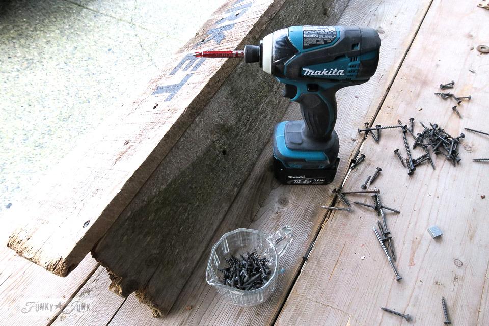 Assembling a reclaimed wood coat hook shelf | funkyjunkinteriors.net