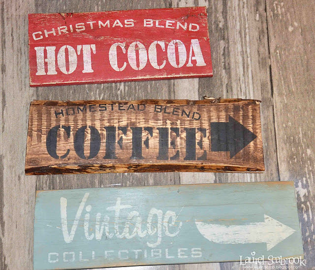 Reclaimed wood old signs using stencils, by BeYOUtiful You, featured on Funky Junk Interiors