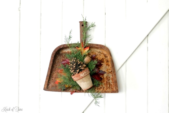 Repurposed fall themed dustpan wreath, by Knick of Time, featured on Funky Junk Interiors