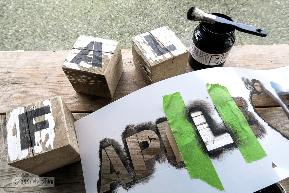 Stenciling Farm And Fall Onto Wooden Blocks For A Reclaimed Wood Coat Hook Shelf With Funky