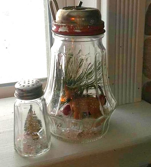 Christmas snowglobe styled wonderland jars, by SoupSeeds Creations, featured on Funky Junk Interiors