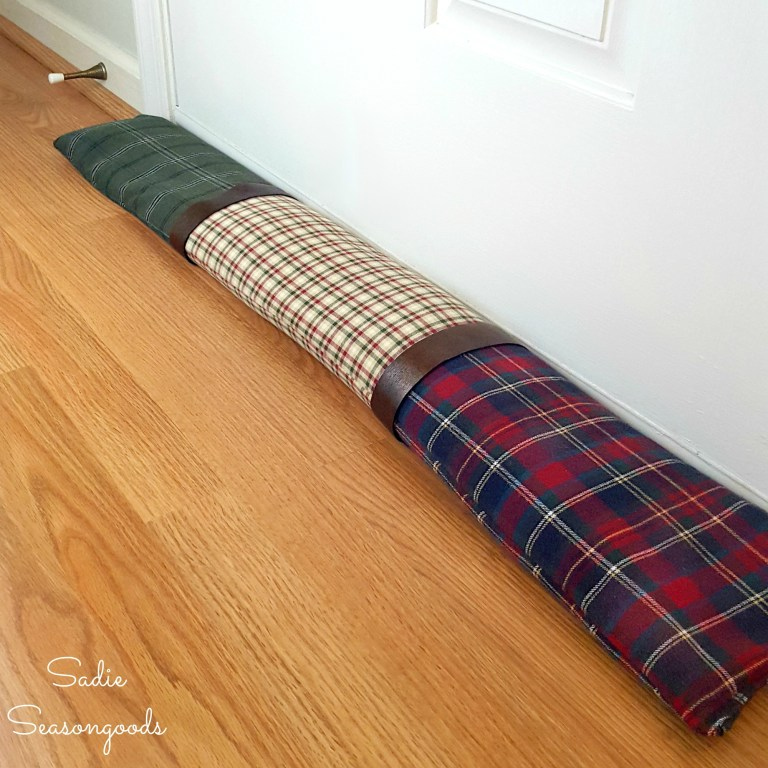 Flannel shirt door draft stopper, by Sadie Seasongoods, featured on Funky Junk Interiors