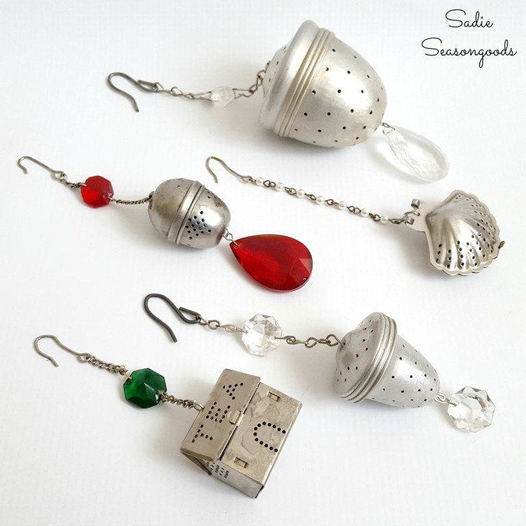 Tea strainer ornaments, by Sadie Seasongoods, featured on Funky Junk Interiorts