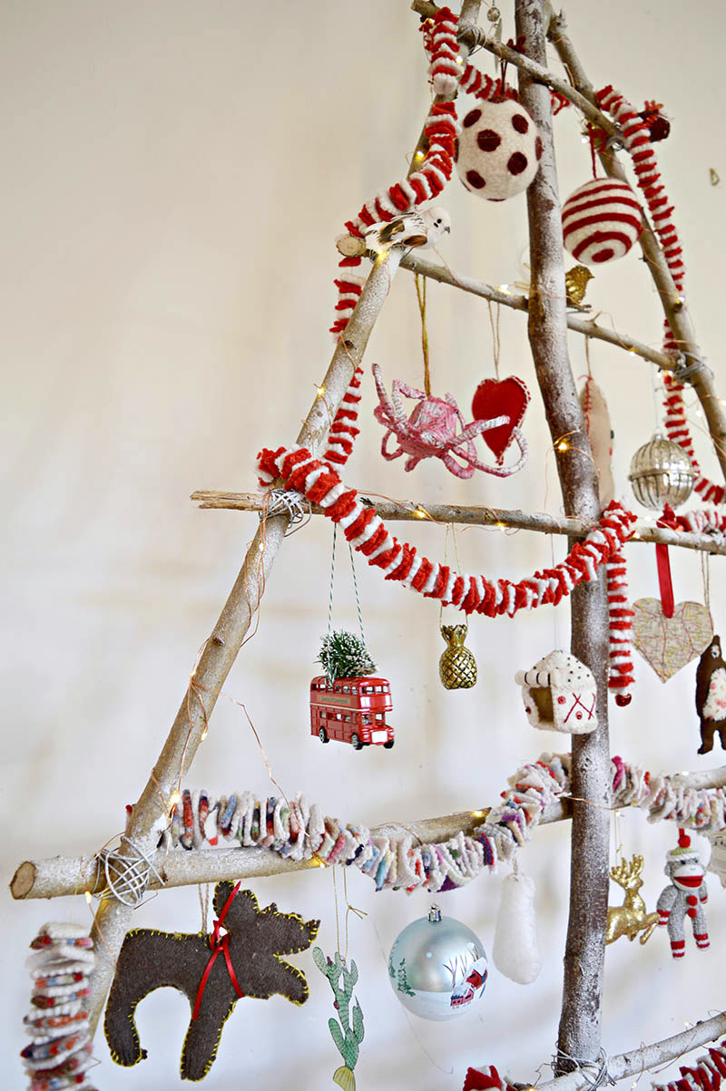 Frosted branch Christmas tree, by Pillar Box Blue, featured on Funky Junk Interiors