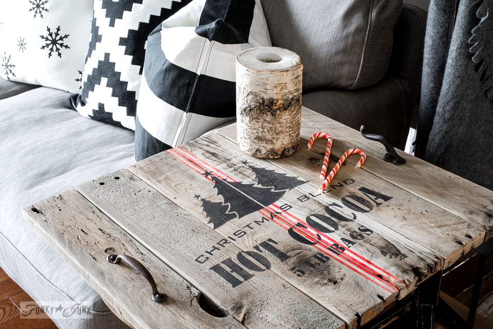 Christmas livingroom tour with a Christmas themed side table TV tray with Funky Junk's Old Sign Stencils | funkyjunkinteriors.net