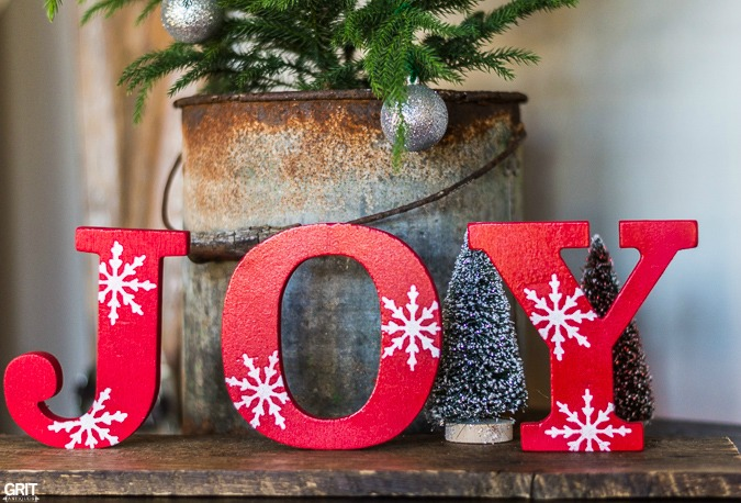 Stencilled snowflake Christmas JOY letters, by Grit Antiques, featured on Funky Junk Interiors