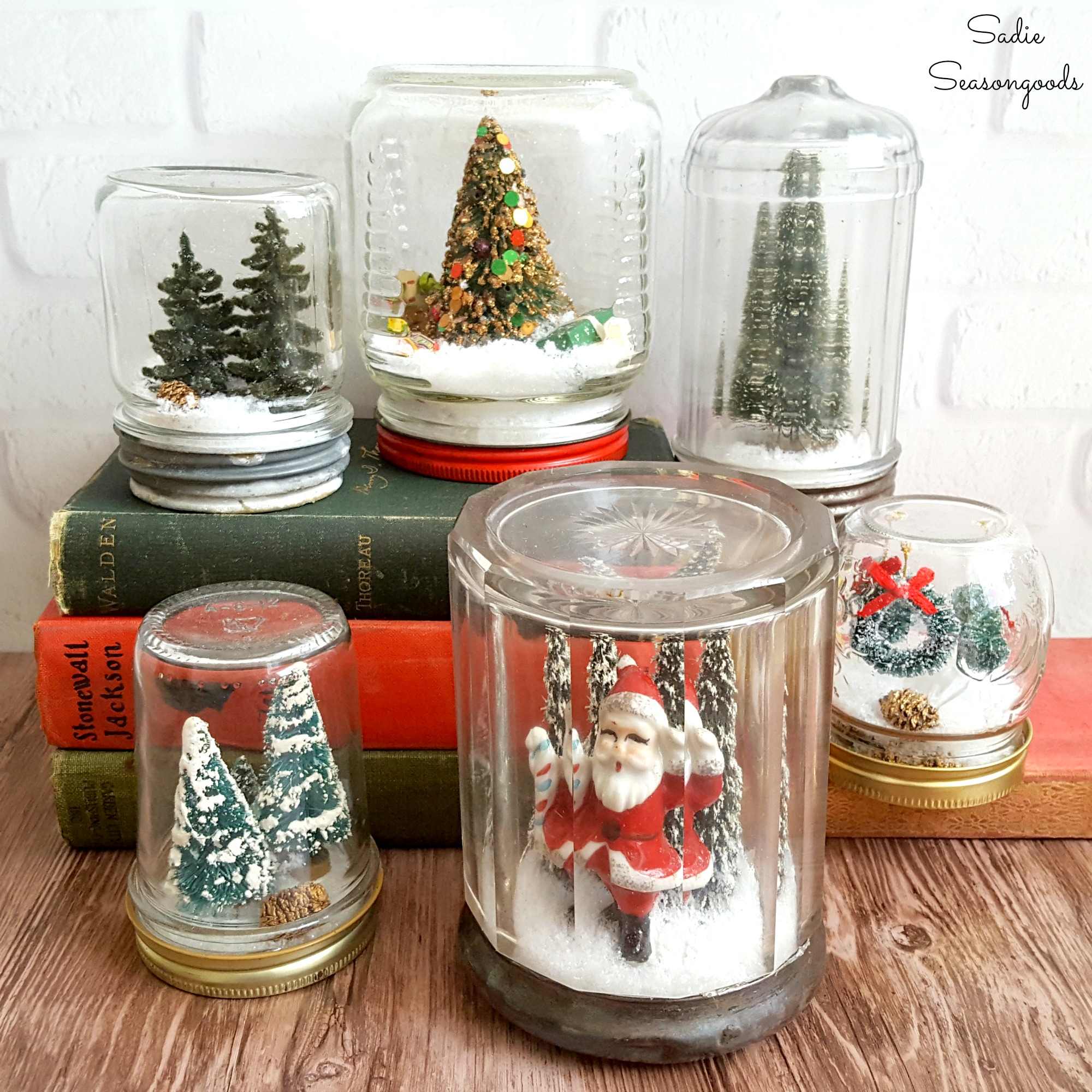 Antique jar DIY snow globes, by Sadie Seasongoods, featured on Funky Junk Interiors