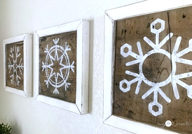 Scrap wood snowflake signs or pictures, by My Love 2 Create, featured on Funky Junk Interiors