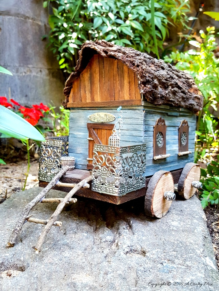Upcycled lunchbox caravan, by A Crafty Mix, featured on Funky Junk Interiors