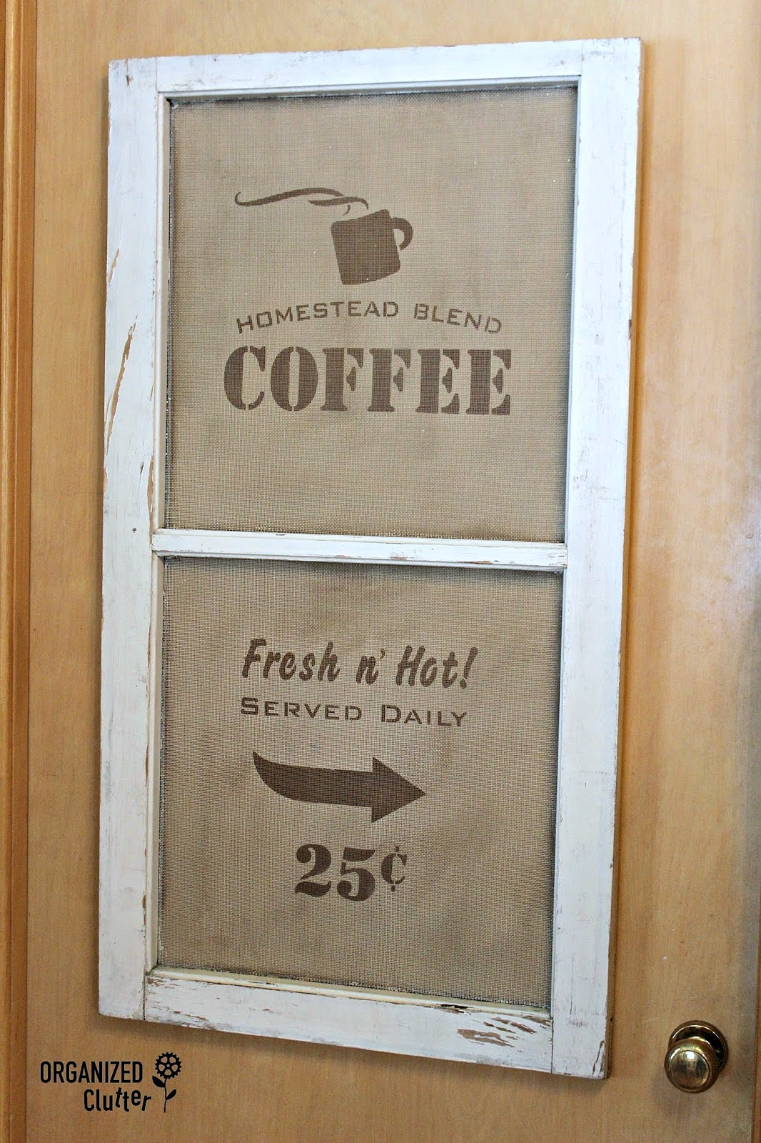 Window screen coffee sign, by Organized Clutter, featured on Funky Junk Interiors