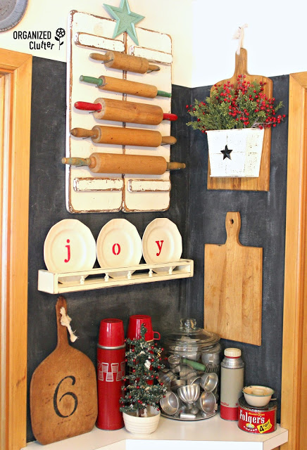 Rolling pin Christmas tree in a kitchen vignette, by Organized Clutter, featured on Funky Junk Interiors