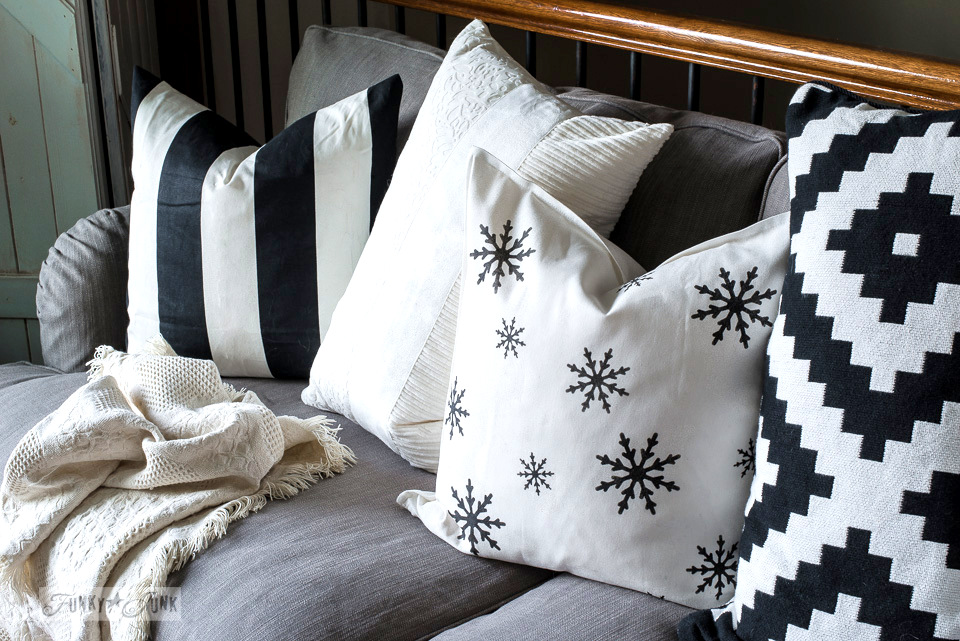 Learn how to create this snowflake winter and Christmas pillow with stencils!